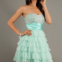 Mint Green Short Strapless Beaded Prom Dress by Bee Darlin