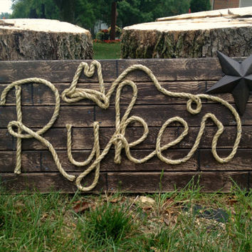 "RYKER : 32"" Western Rope Name Sign Cowboy Theme Room Nursery- Brown Wood Grain Finish- (002)"