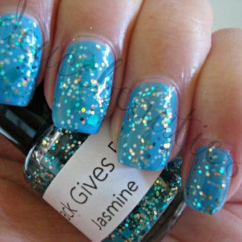 Jasmine  Full Size 15ml/5oz Glitter Nail Polish by MackGivesBack