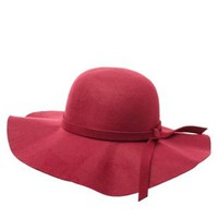 Wide Brim Floppy Hat by Charlotte Russe - Burgundy