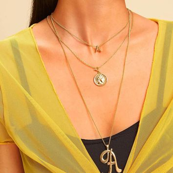 Latter & Coin Pendant Layered Chain Necklace 1pc