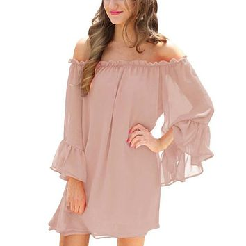 Flare Sleeves, Off Shoulder Mini Dress