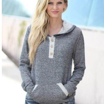 Grey Button Pocket Detail Hooded Sweater
