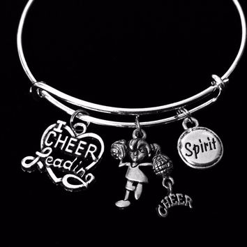 I Love Cheerleading Jewelry Adjustable Charm Bracelet Expandable Silver Bangle Cheerleader Cheer Gift Spirit