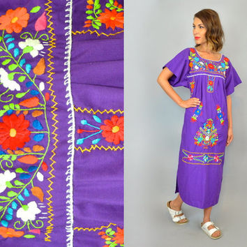 EMBROIDERED OAXACAN bohemian hippie gypsy festival ethnic vtg 80s MEXICAN maxi dress, small-large