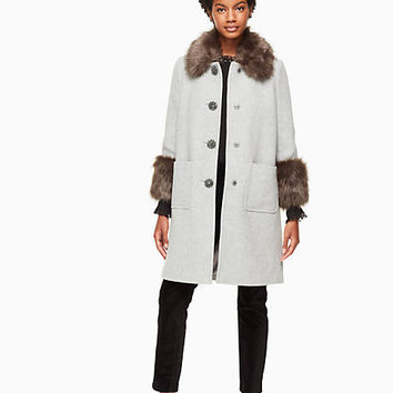 faux fur trim coat | Kate Spade New York