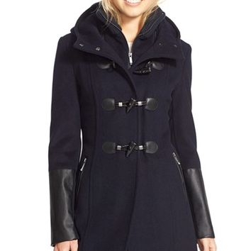 Women's BCBGMAXAZRIA Faux Leather Trim Wool Blend Duffle Coat with Inset Bib,