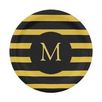 Modern Gold and Black Stripes Monogram Paper Plate