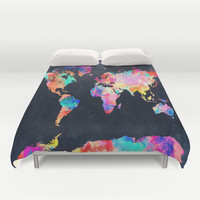 World map Duvet Cover by Bekim ART