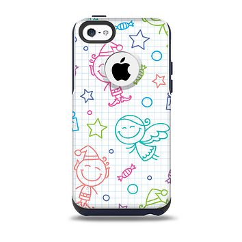The Colored Happy Doodle Angels and Elves Skin for the iPhone 5c OtterBox Commuter Case