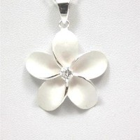 SILVER 925 HAWAIIAN PLUMERIA FLOWER PENDANT CZ 29MM