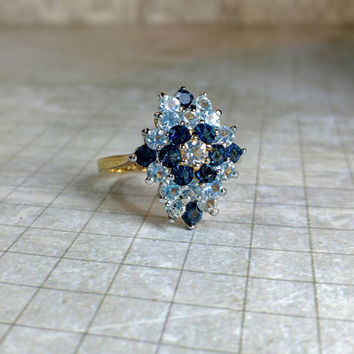 18K GE gold electroplate sapphire blue and baby blue, clear rhinestone dinner coctail statement ring size 8.5