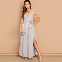 Grey Elegant Deep V-neck Ruched Wide Waistband Slit Dress Fit And Flare Solid Slim Dress Women Party Dresses