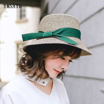 Ymsaid Summer Hats Women's Straw Hat For Beach Sun Hat Travel Ribbon Bucket Hat Panama