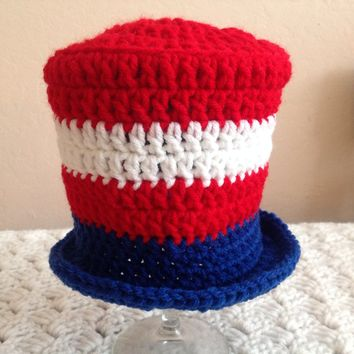 Crochet baby patriotic, 4th of July baby hat, red, white and blue  stripes Uncle Sam Hat