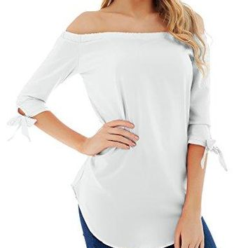 FISOUL Womens Off Shoulder Tops 34 Sleeve Solid Casual Loose Blouse Top