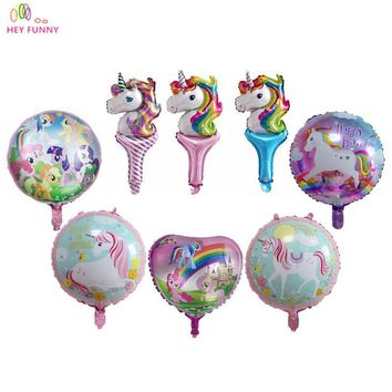 10pcs/lot Heart/Round Shaped Little Horse Ponies/Unicorn Foil Balloons Kids Toys Gifts Birthday Party Supplies Helium Balloons