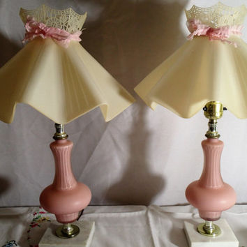 Bedroom Lamps Boudoir Vanity Lamps, Frosted pink Cased Glass lamps on white marble base, plastic ruffle shades -sold as pair