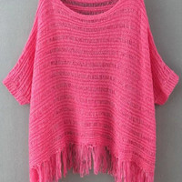 Rose Red Short Sleeve Fringed Knit Sweater