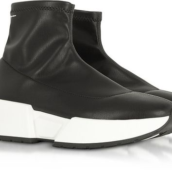 MM6 Maison Martin Margiela Black Stretch Leather Sock Sneakers