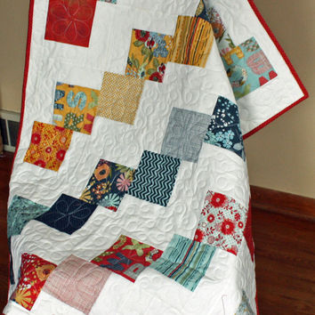 Falling Charms Baby Quilt or Lap Quilt Handmade with Moda PB&J Designer Fabrics