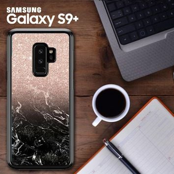 Modern Rose Gold Ombre Black Marble E1399 Samsung Galaxy S9 Plus Case