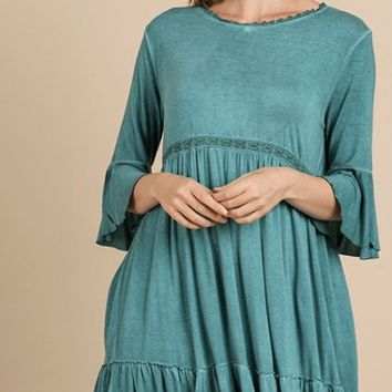 Women's Bell Sleeve Ruffle Hem Dress