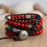 Red and mixed color triple wrap bracelet. Colorful beaded bohemian bracelet