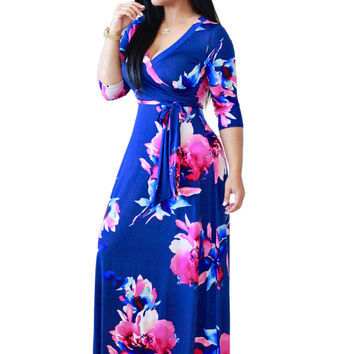 Blue Flower Print Wrap V Neck Maxi Dress