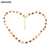 ShinyGem Fashion 24K Gold Chain Agates Necklaces Handmade Cut Stone Beads Necklace Fashion Multi Colors Long Necklaces For Women-in Chain Necklaces from Jewelry & Accessories on Aliexpress.com | Alibaba Group