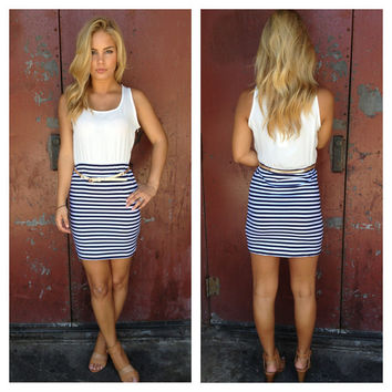Navy & White Stripe with Gold Belt Dress