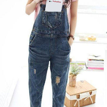 Blue Pocket Design Ripped Denim Overalls