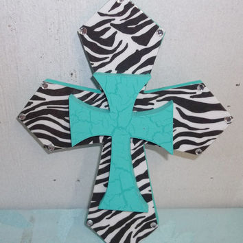 Small Turq & Zebra Cross