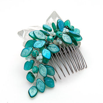 Teal Hair Comb, Bridal Hair Comb, Wedding Accessories, Hair Accessories