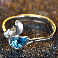 Hight Quality Womens Girls Swan Silver Ring Adjustment Crystal Ring Love Jewelry Best Christmas Gift One Size Rings-86