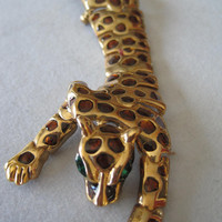 Leopard Articulated Rhinestone Eye Shoulder Brooch