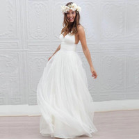 Vestido De Noiva Simple Beach Wedding Dress 2017 Spaghetti Straps Sexy Vintage Boho Backless White Tulle Bride Dress Bridal Gown