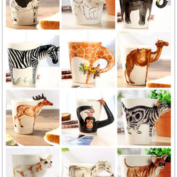 Creative gift love3D animal shape ceramic coffee milk tea mug hand painted caneca Giraffe Cow Monkey Dog Cat Camel Elephant cup