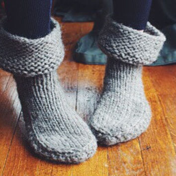 Slouchy Cuff Slippers Knitting PATTERN