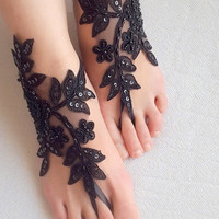 Beaded black lace, wedding sandals,prom dress accessories, halloween, free shipping!