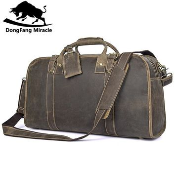 Men's Travel Duffel Bag Leather  Huge 21 Inches Vintage bags Crossbody Travel bag