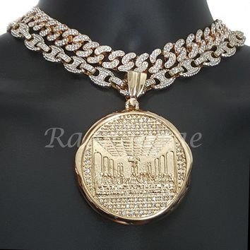 "Iced Out Anchor Last Supper 16"" Iced Out Choker 18"" Puffed Gucci Chain Set G58"