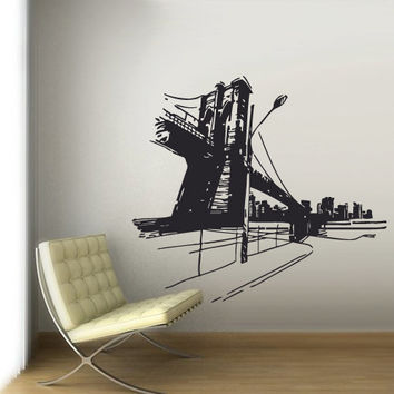 Wall Vinyl Sticker Decals Decor Art Bedroom Design Mural City Town New York Bridge Street Picture Roadway (z2963)