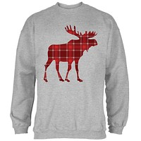Autumn Plaid Moose Mens Sweatshirt