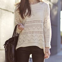 Sweater Beige Trendy Fall Fashion Knit Jumper (2 Days FREE SHIPPING)