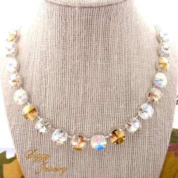 Silver and Gold Swarovski crystal necklace **Golden Diva** 12mm Swarovski elements, **SELECT A FINISH** Siggy Jewelry