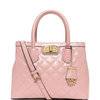 Hannah Medium Quilted Smooth Satchel Bag, Pink