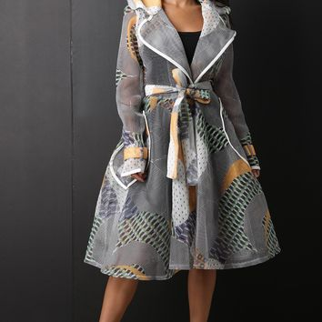 Geometric Pattern Netted Mesh Trench Coat