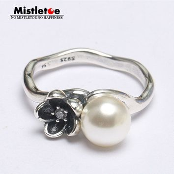 Mistletoe Genuine 925 Sterling Silver flower, White Pearl & Clear CZ Ring Compatible with European Jewelry Crown