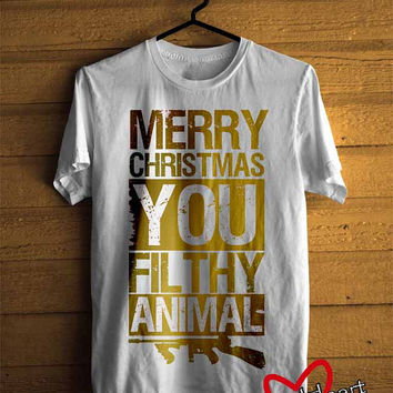 Men T-shirt : Merry Christmas You Filthy Animal